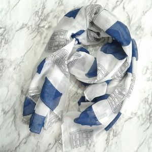 Doctor Who Tardis Blue White Tissue Weight Scarf